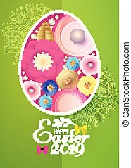 Happy Easter Card Template with Egg Desorated with Spring Flowers.