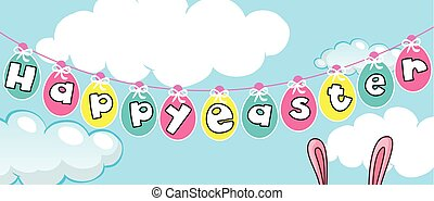 Happy Easter card template with eggs in the sky