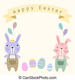 Happy Easter Card Template with Pastel Cute Couple Bunny.
