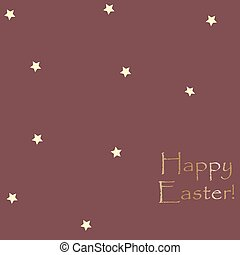 Happy Easter Card Template with yellow stars on brown.