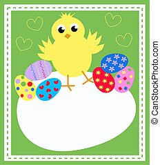happy easter card with a cute little chicken