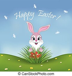 Happy Easter card with a cute pink bunny finding eggs