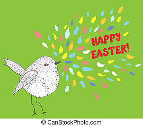 Happy easter card with bird funny design