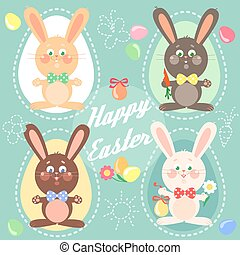 Happy Easter card with bunnies.