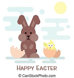 Happy easter card with bunny and chicken in the egg shell.