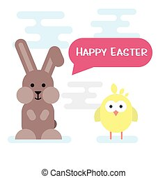 Happy easter card with bunny and chicken.