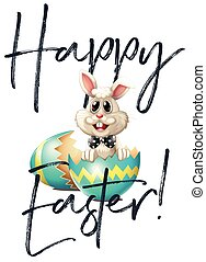 Happy Easter card with bunny and egg