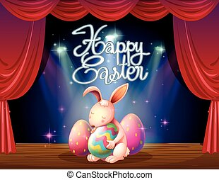 Happy Easter card with bunny and eggs on stage