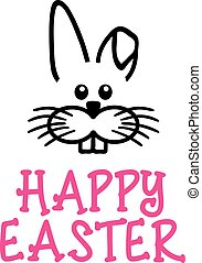 Happy easter card with bunny face