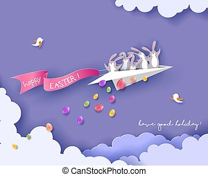 Happy Easter card with bunny, flowers and eggs