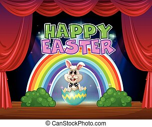Happy Easter card with bunny in egg