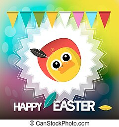 Happy Easter  Card with Chicken Flags and Retro Blurred Background