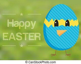 Happy Easter card with chicken in broken egg