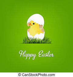 Happy Easter Card With Chicken, With Gradient Mesh, Vector