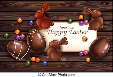 Happy Easter card with chocolate bunny and eggs. Vector 3d realistic illustrations