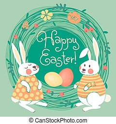 Happy Easter card with cute bunnies and colored eggs.