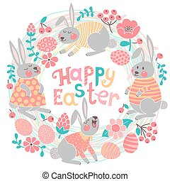 Happy Easter card with cute bunnies and colored eggs. Vector...