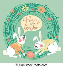Happy Easter card with cute bunnies.
