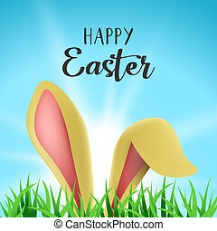 Happy Easter card with cute bunny ears and text