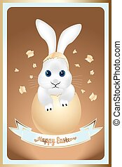 Happy Easter card with cute bunny