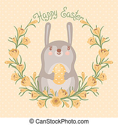 Happy Easter card with cute bunny.