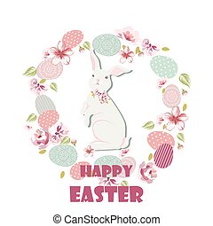 Happy Easter card with cute rabbit