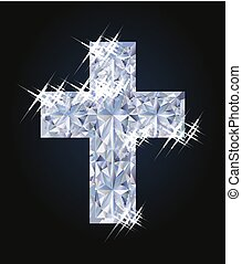 Happy Easter card with diamond cross, vector illustration