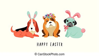 Happy Easter card, with dogs wearing bunny costumes
