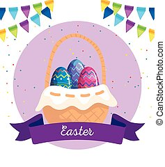 happy easter card with eggs in basket wicker and decoration