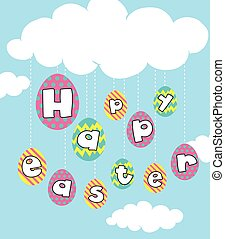 Happy Easter card with eggs in sky