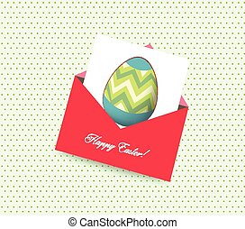 happy easter card with envelope egg