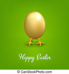 Happy Easter Card With Golden Egg