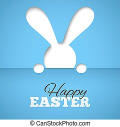 Happy easter card with hiding bunny and font on blue paper background