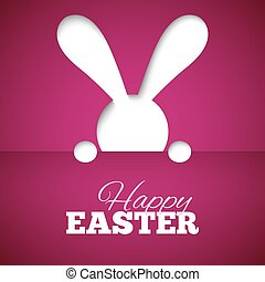 Happy easter card with hiding bunny and font on fuchsia paper background