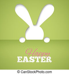 Happy easter card with hiding bunny and font on green paper background