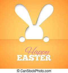 Happy easter card with hiding bunny and font on orange paper background