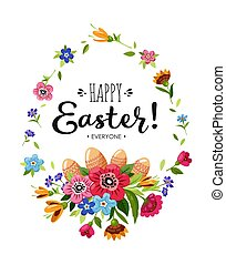 Happy Easter card with lettering and flowers and Easter...