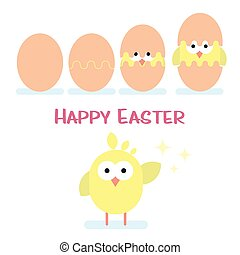 Happy easter card with newborn chicken.