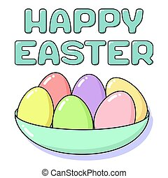 Happy Easter card with painted eggs in plate and lettering. Holiday concept coloring in pastel colors - pink, blue, yellow, green and coral. Square vector flat illustration isolated on white background