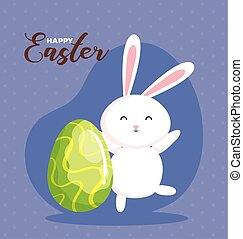 happy easter card with rabbit and egg