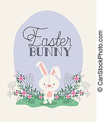 happy easter card with rabbit in the garden