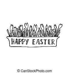Happy easter card with spring flowers. Lettering blossoming snowdrops.