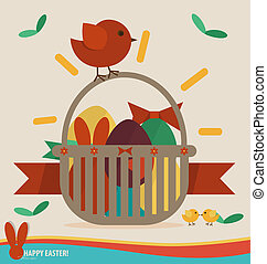 Happy easter cards with easter eggs, ribbon. Concept holiday spring cartoon collection. Vector illustration.