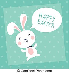 happy easter celebration card with rabbit and speech bubble