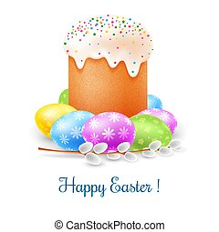 Happy Easter celebration - Easter cake, colored eggs and...