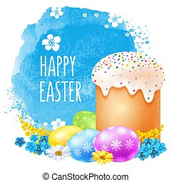 Happy Easter celebration - Realistic Easter cake, colored...