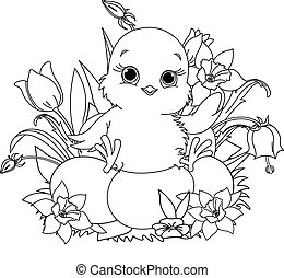 Happy Easter chick. Coloring page - Newborn chick sitting on...