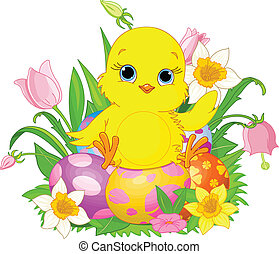 Happy Easter chick - Illustration of newborn chick sitting...