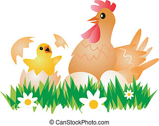 Easter Chicken, Hen  and eggs.