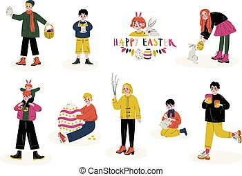 Happy Easter, Children Celebrating Holiday, Boys and Girls Holding Easter Symbols Set Vector Illustration